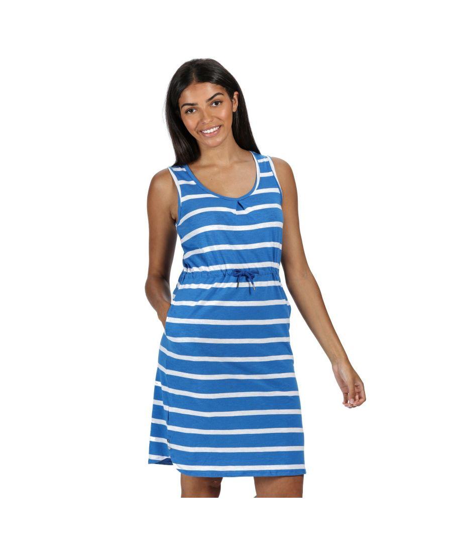 Image for Regatta Womens/Ladies Felixia Striped Sleeveless Dress (Strong Blue)