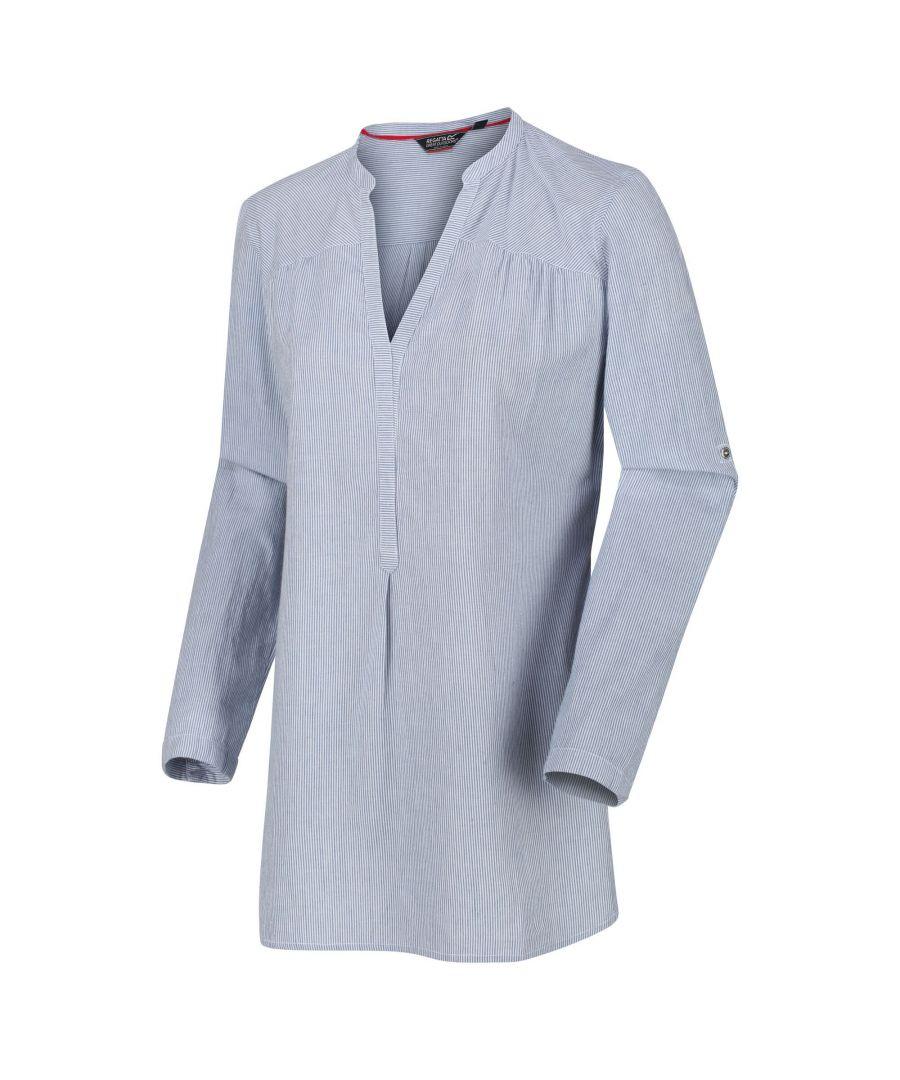 Image for Regatta Womens/Ladies Maelie Long Length Half Button Shirt (Dusky Blue Stripe)