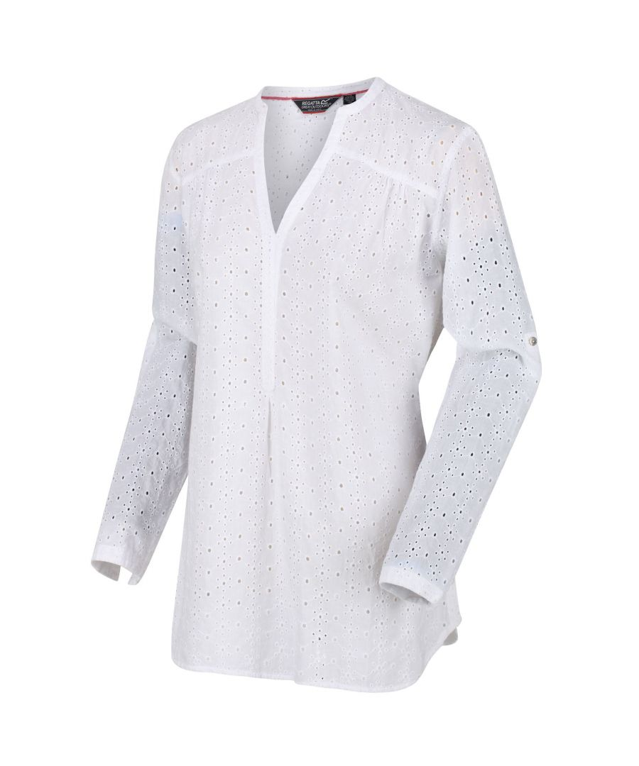 Image for Regatta Womens/Ladies Maelie Long Length Half Button Shirt (White)