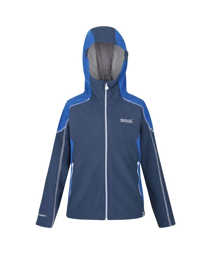 Image for Regatta Childrens/Kids Acidity IV Reflective Hooded Softshell Jacket (Dark Denim/Nautical Blue)
