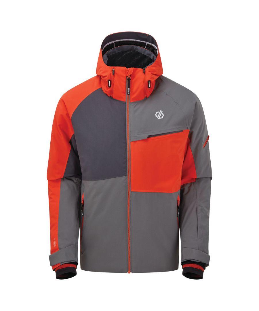 Image for Dare 2B Mens Supercell Waterproof Ski Jacket (Ebony Grey/Trail Blaze Red)