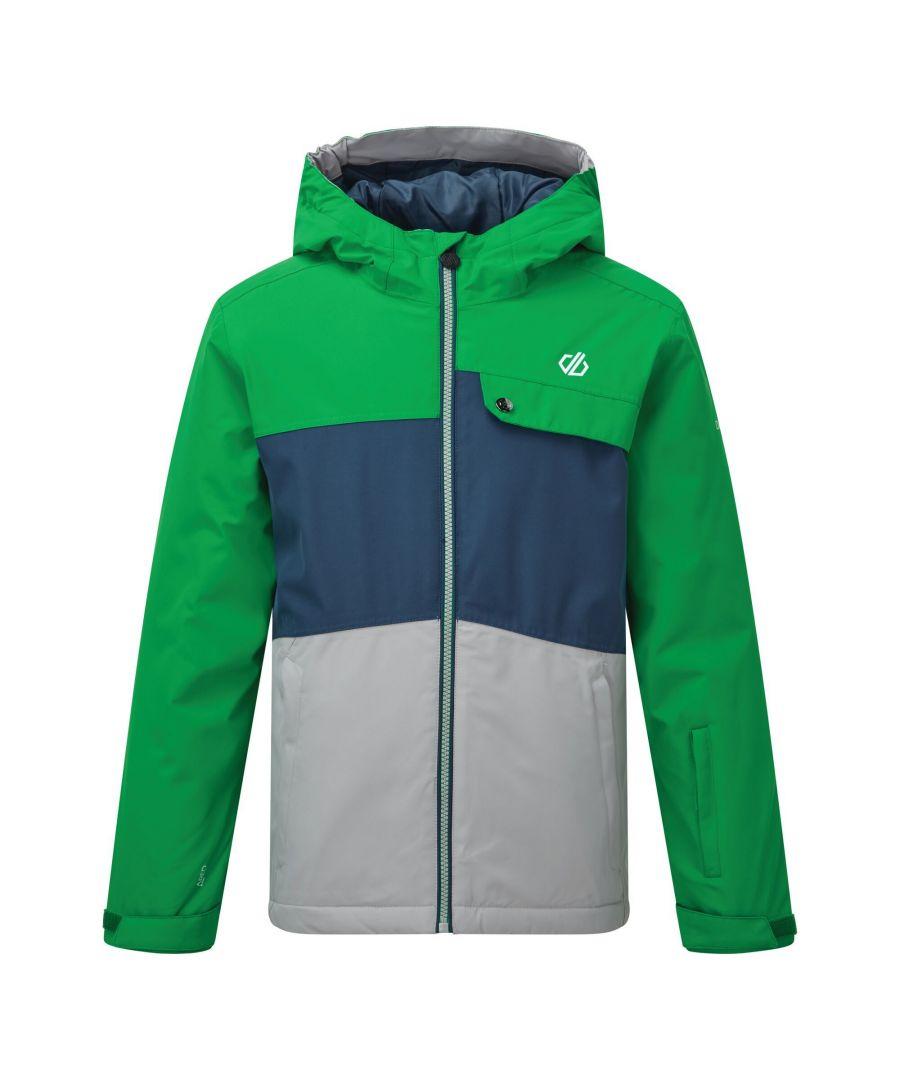 Image for Dare 2B Childrens/Kids Enigmatic Ski Jacket (Vivid Green/Light Grey/Dark Denim)