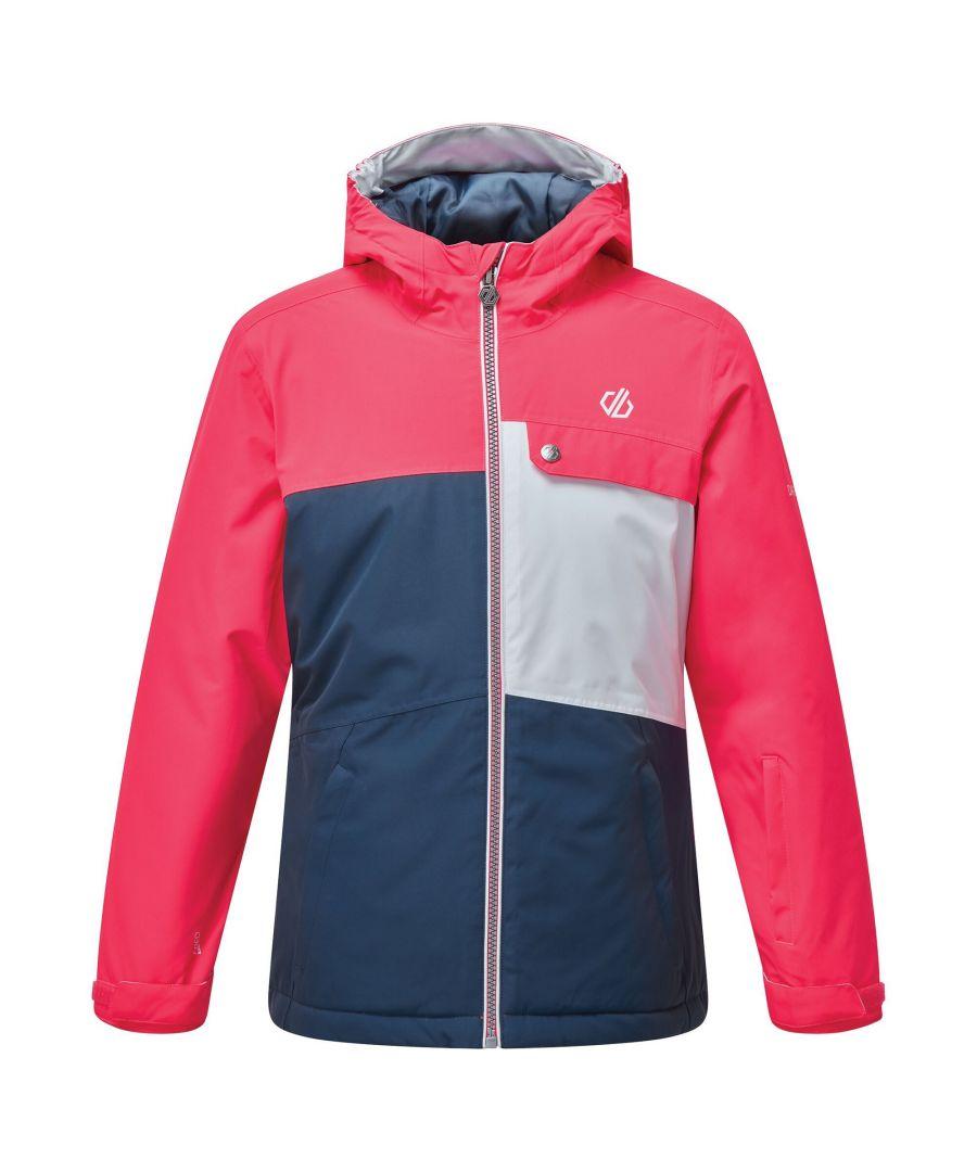 Image for Dare 2B Childrens/Kids Enigmatic Ski Jacket (Neon Pink/Dark Denim/White)