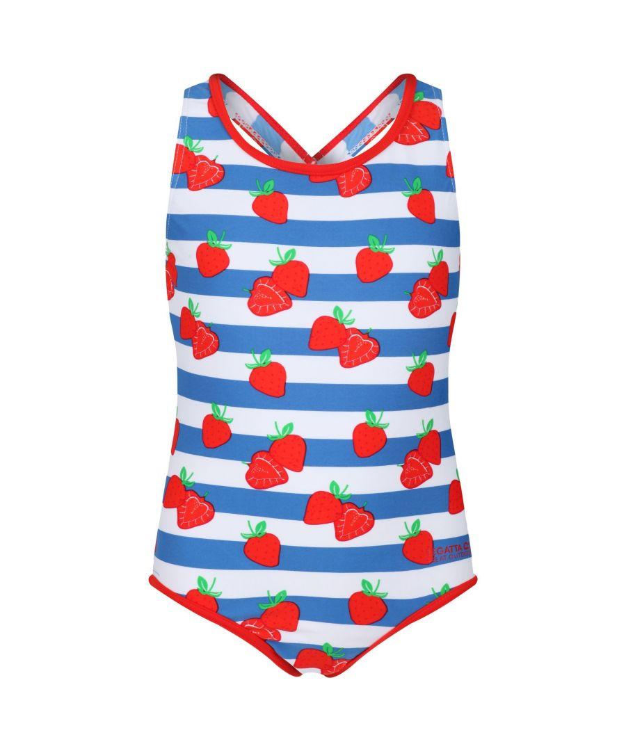 Image for Regatta Girls Tanvi Swimming Costume (Fiery Red/Blue/White Stripe)