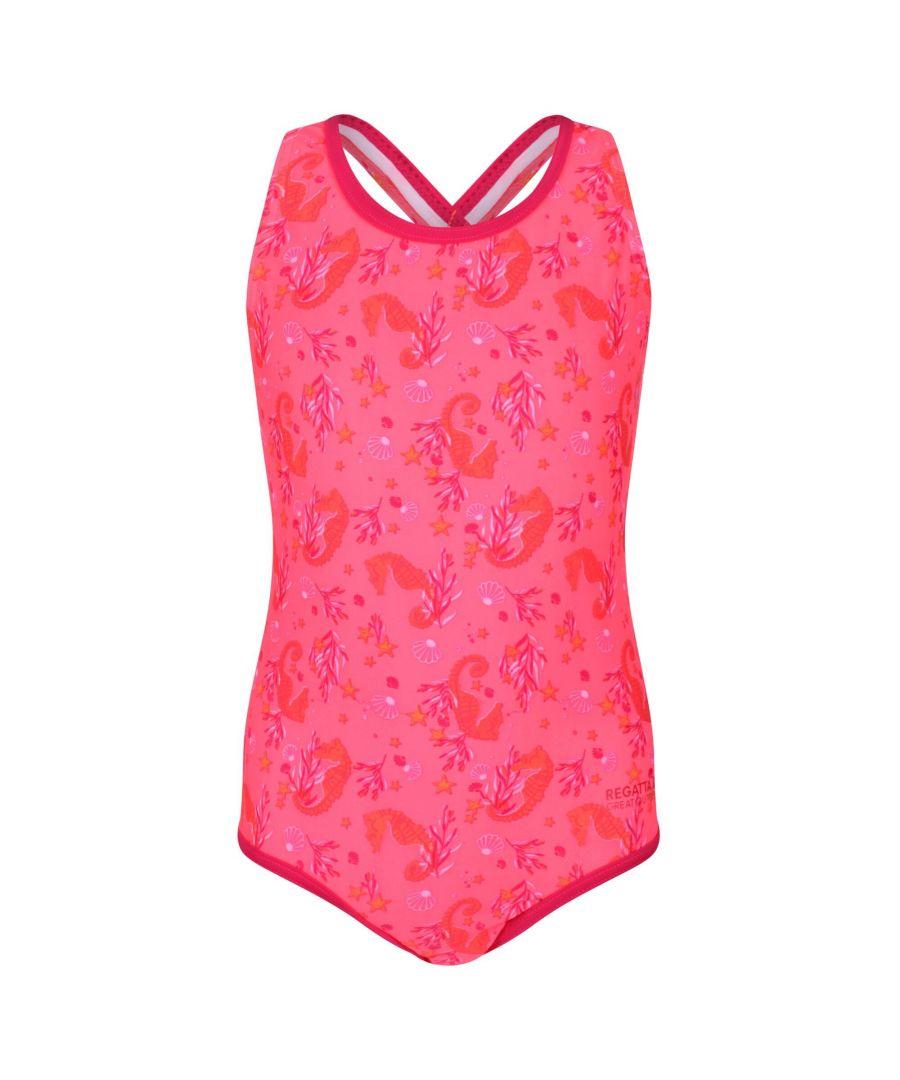 Image for Regatta Girls Tanvi Swimming Costume (Fiery Coral)