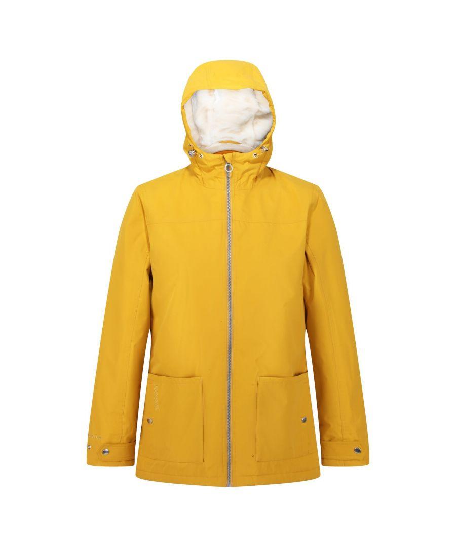Image for Regatta Womens/Ladies Bergonia II Hooded Waterproof Jacket (Mustard Seed)