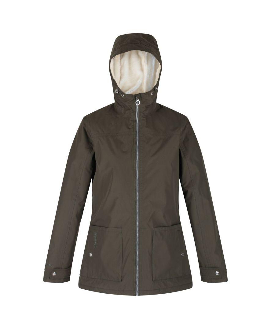 Image for Regatta Womens/Ladies Bergonia II Hooded Waterproof Jacket (Dark Khaki)
