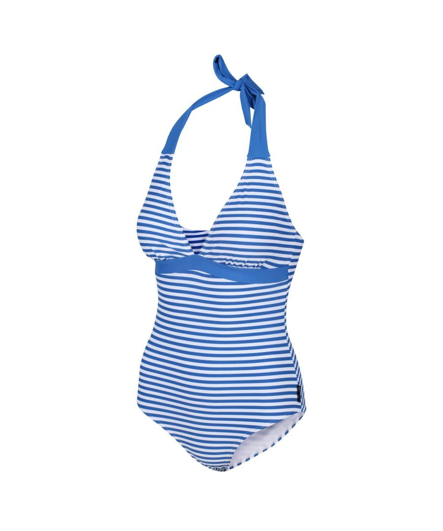 Image for Regatta Womens/Ladies Flavia Striped One Piece Swimsuit (Blue)
