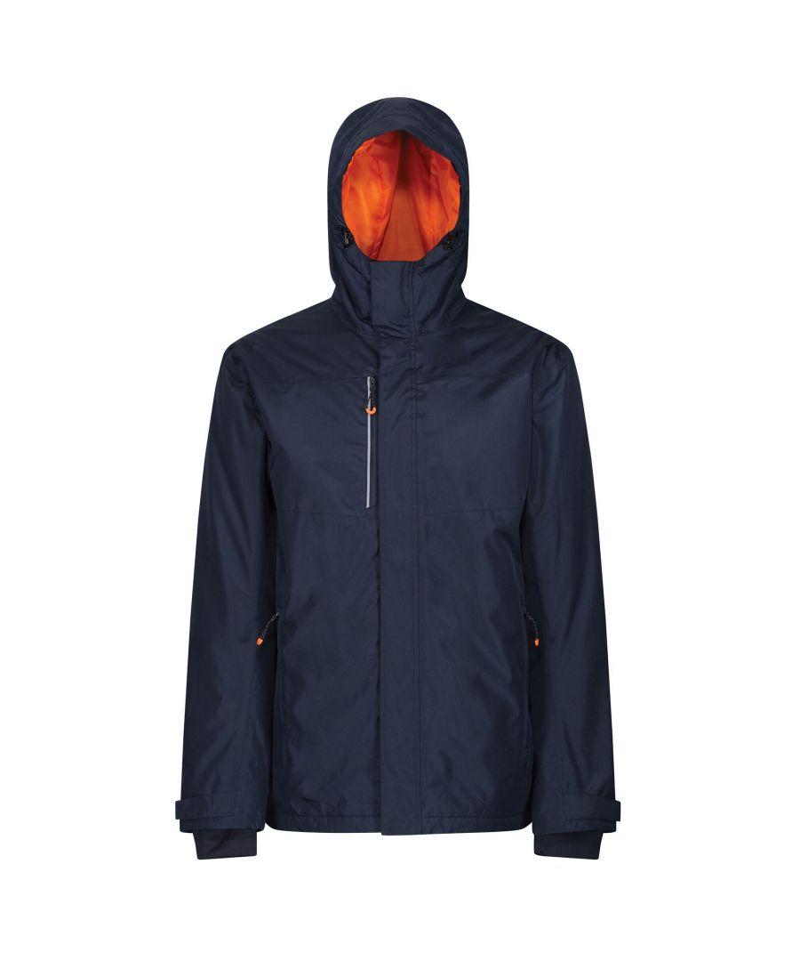 Image for Regatta Mens Thermogen Heated Waterproof Jacket (Navy/Magma Orange)