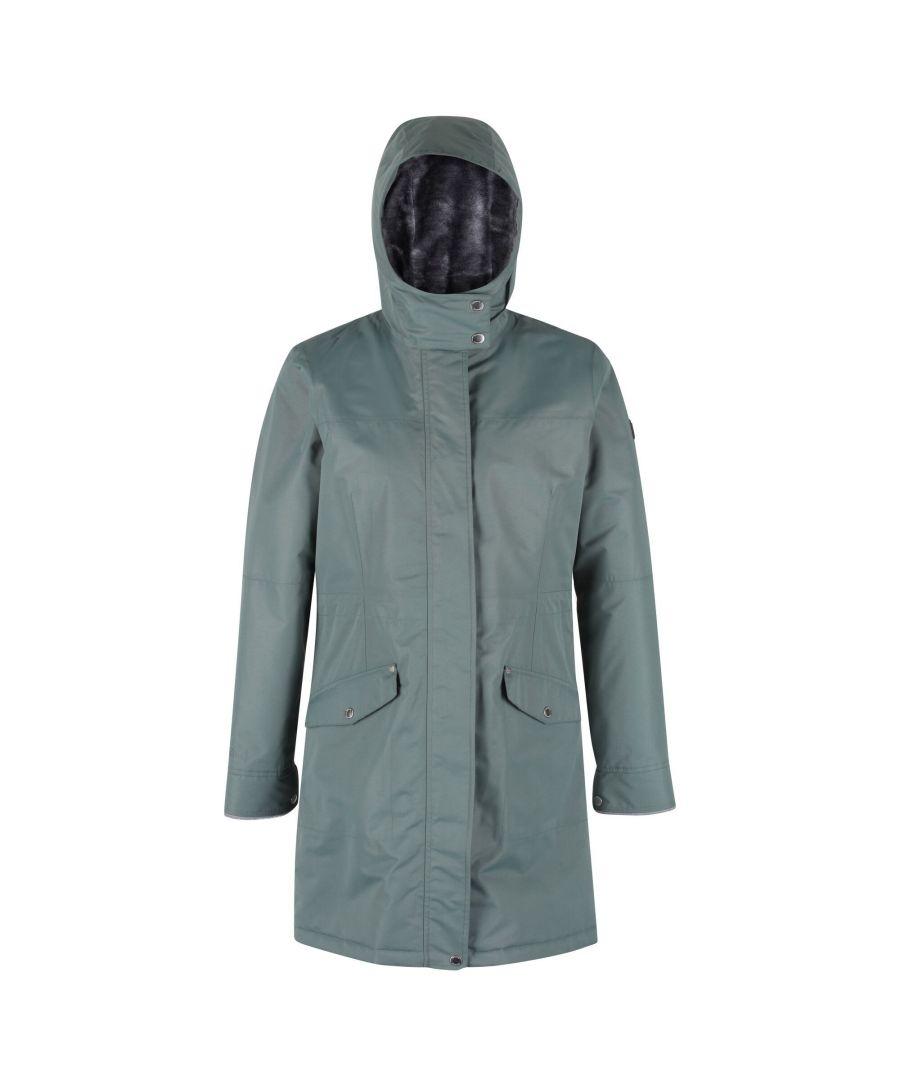 Image for Regatta Womens/Ladies Rimona Hooded Waterproof Jacket (Balsam Green)