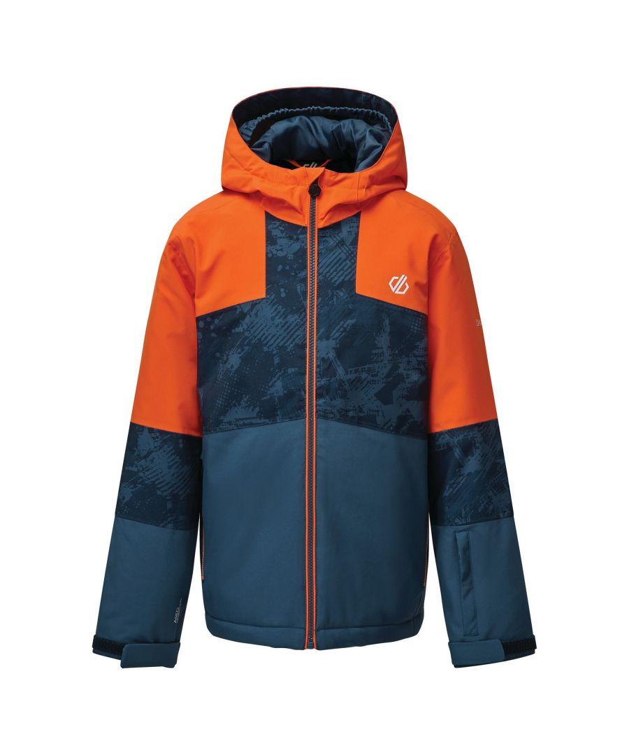 Image for Dare 2B Childrens/Kids Cavalier Animal Print Ski Jacket (Blaze Orange/Dark Denim)