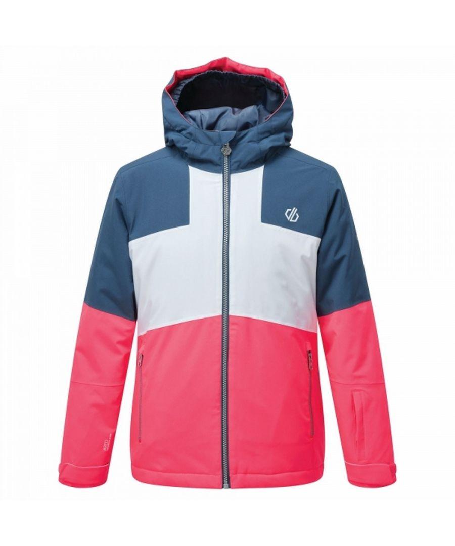 Image for Dare 2B Childrens/Kids Cavalier Animal Print Ski Jacket (Neon Pink/Dark Denim/White)