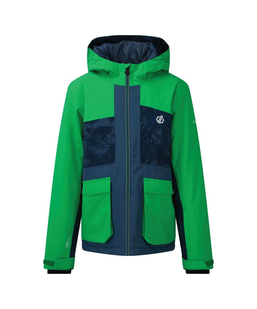 Image for Dare 2B Childrens/Kids Esteem Insulated Ski Jacket (Vivid Green/Dark Denim)