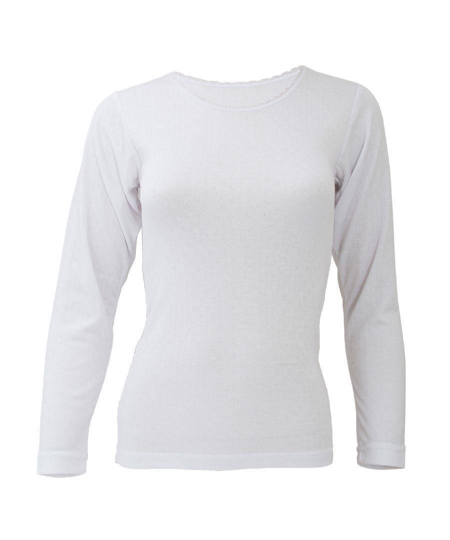 Image for FLOSO Ladies/Womens Thermal Underwear Long Sleeve T-Shirt/Top (Standard Range) (White)