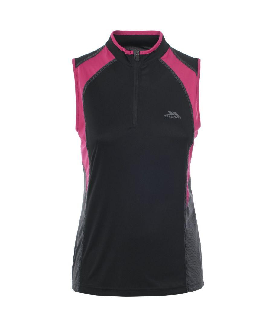Image for Trespass Womens/Ladies Heartrate Sleeveless Active Vest Top (Black/Hi Vis Pink)