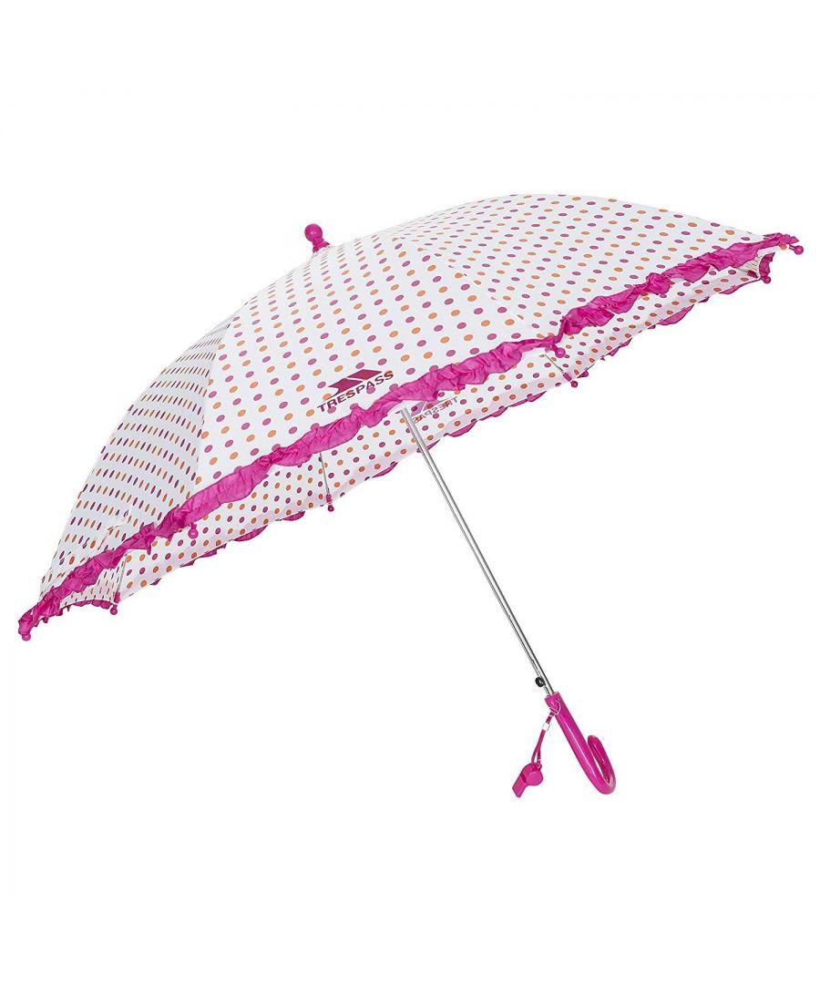 Image for Trespass Childrens Girls Clarissa Patterned Umbrella (Apricot Polkadot Print)