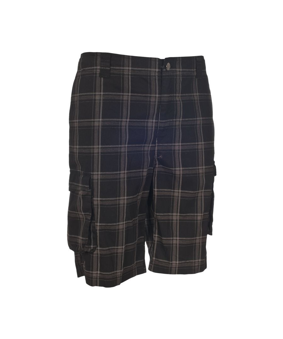 Image for Trespass Mens Commerson Checked Casual Long Length Shorts (Navy Check)