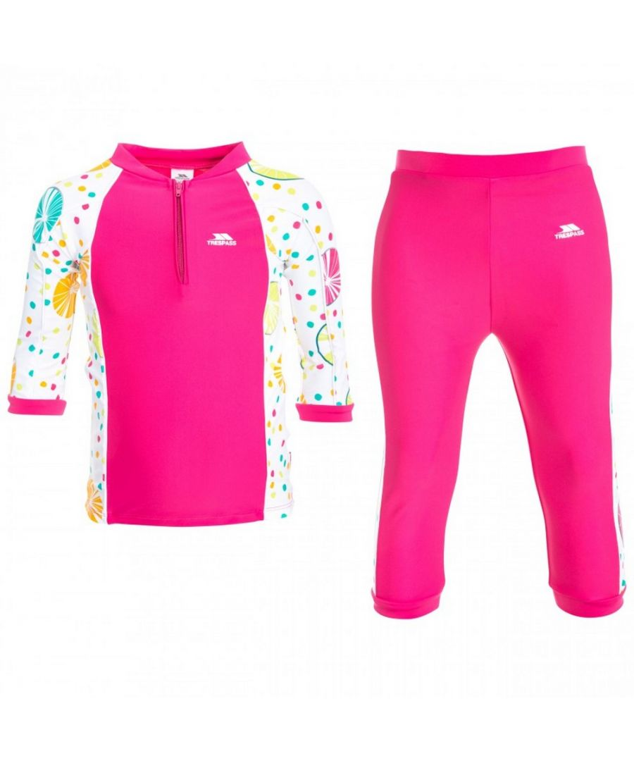 Image for Trespass Childrens/Kids Smiley 3/4 Sleeve Top And 3/4 Bottoms Swim Set