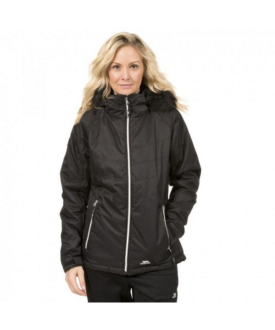 Image for Trespass Womens/Ladies Jolie Water Resistant Faux Fur Trim Jacket (Black)