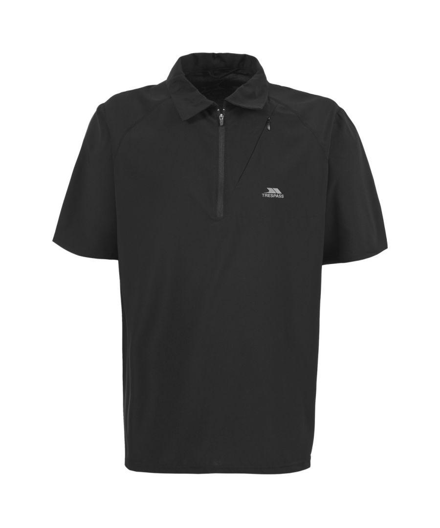 Image for Trespass Mens Skerra Athletic Zip Neck Polo Shirt (Black)