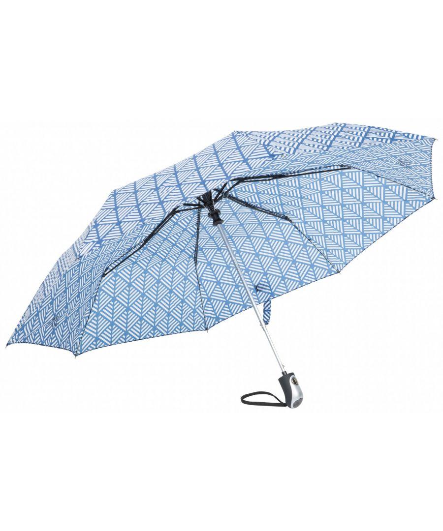 Image for Trespass Maggiemay Automatic Umbrella (Blue Chevron Print)