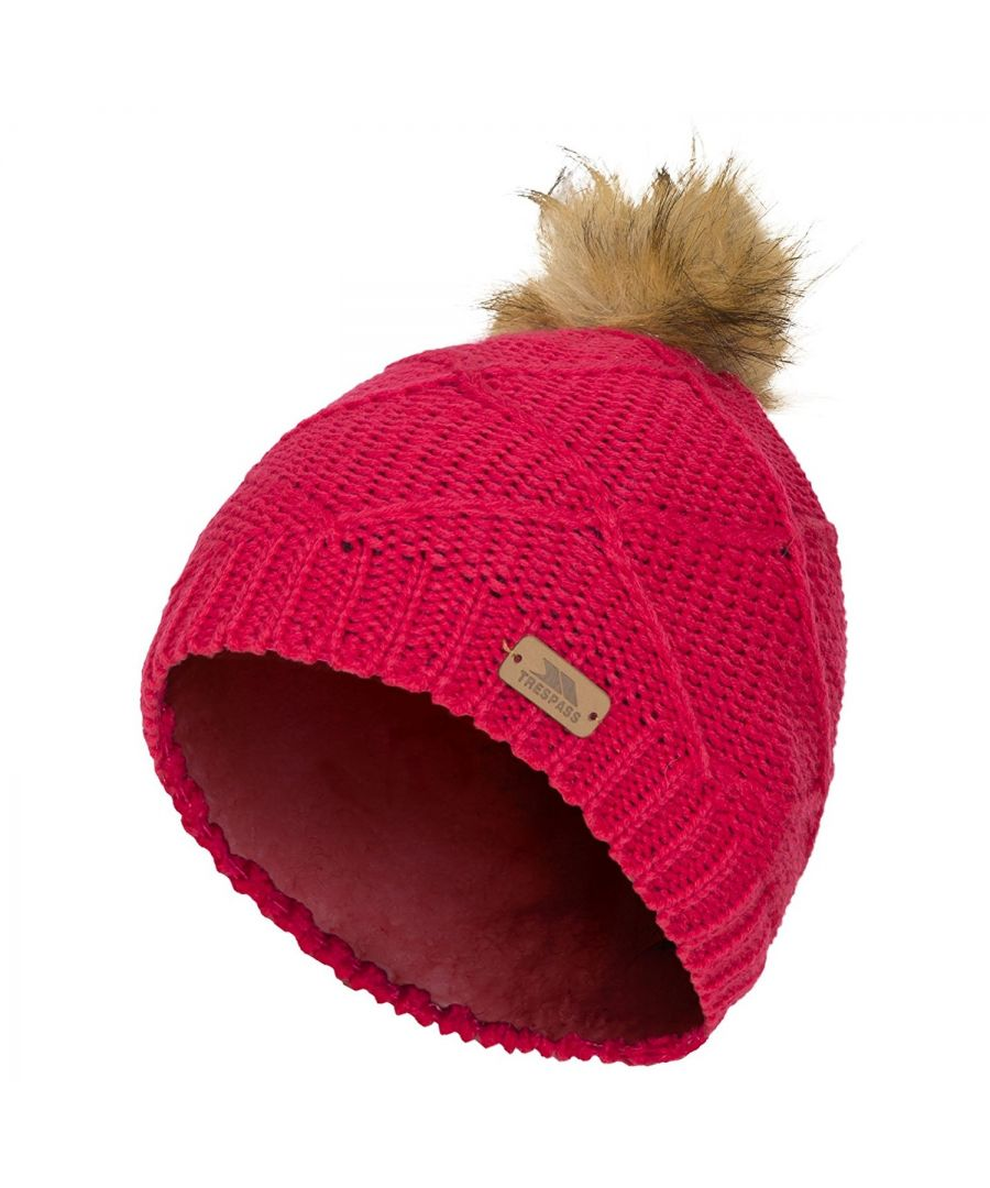 Image for Trespass Childrens Girls Tanisha Faux Fur Winter Beanie