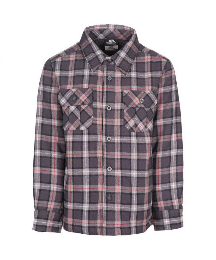 Image for Trespass Childrens/Kids Average Long Sleeved Gingham Shirt (Dark Grey Check)