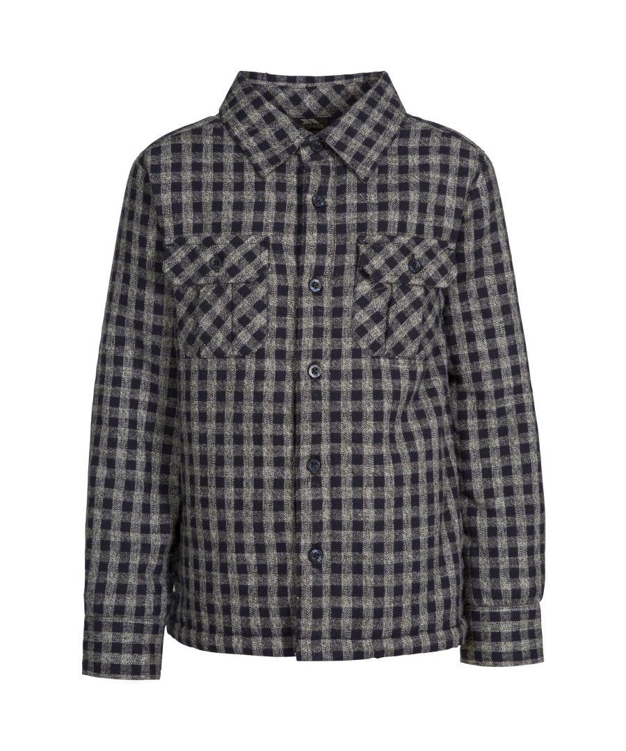 Image for Trespass Childrens/Kids Average Long Sleeved Gingham Shirt (Navy Gingham)