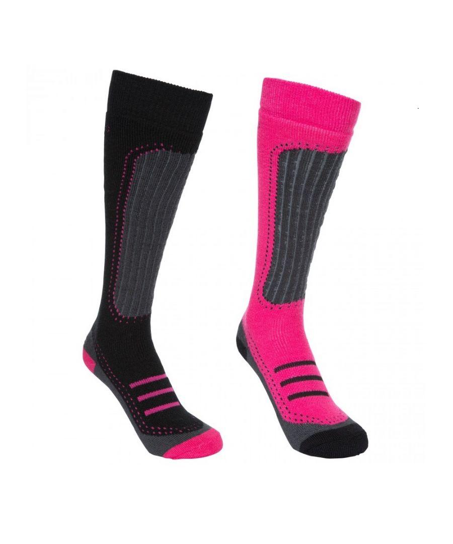 Image for Trespass Womens/Ladies Janus II Ski Socks (Pack Of 2) (Cassis/black)