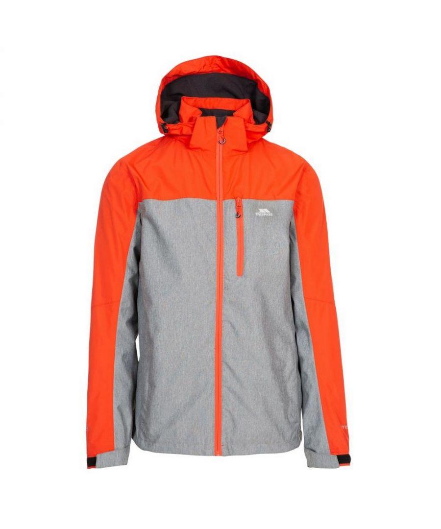 Image for Trespass Mens Zakham Waterproof Long-Sleeved Waterproof Jacket (Orange/Grey)