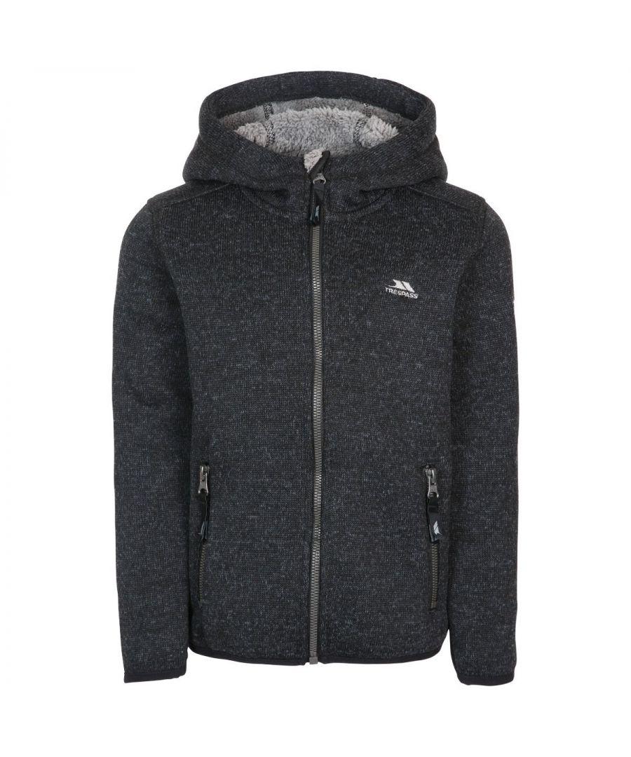Image for Trespass Boys Tableypipe Hooded Fleece Jacket (Black Marl)