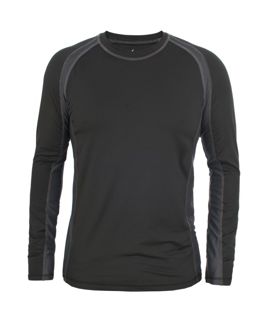 Image for Trespass Mens Explore Long Sleeve Crew Base Layer Top T-Shirt (Black)