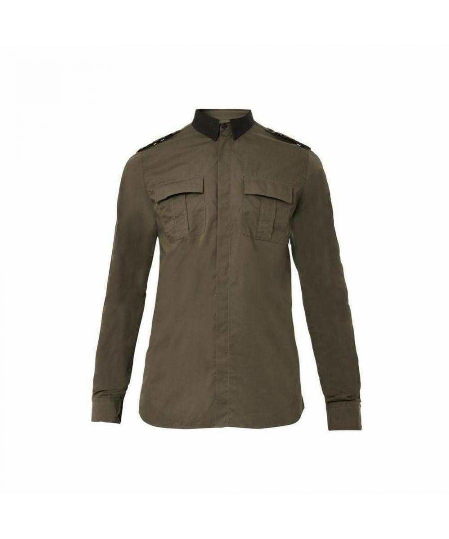 Image for Balmain Military Khaki Shirt Style W4HT113B985B