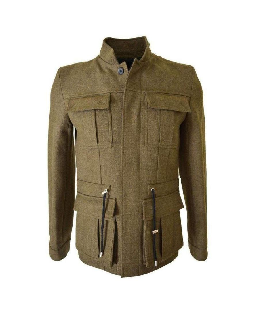 Image for Balmain Military Olive Green Basic Wool Jacket W4HT735C624