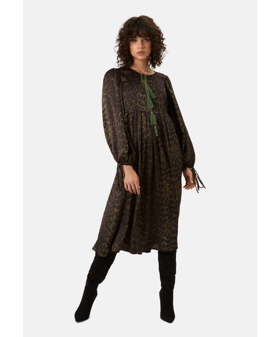 Image for Boho Blues Satin Midi Animal Print Dress in Green