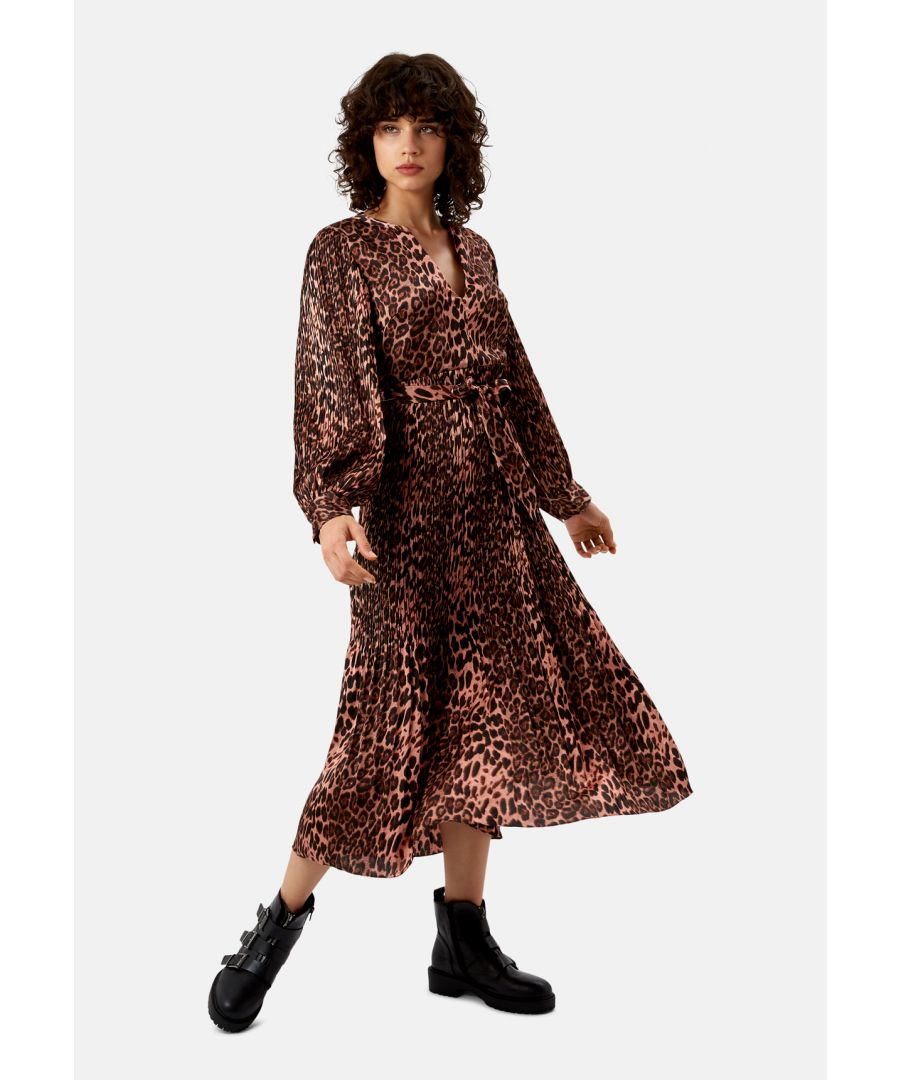 Image for Pleated Fallen Maxi Dress in Pink Leopard Print