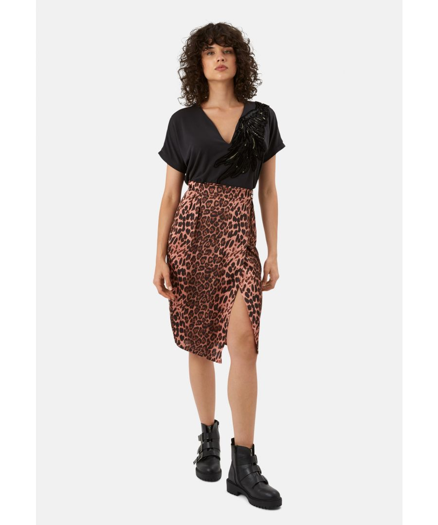 Image for Jungle Midi Wrap Skirt in Pink Leopard Print