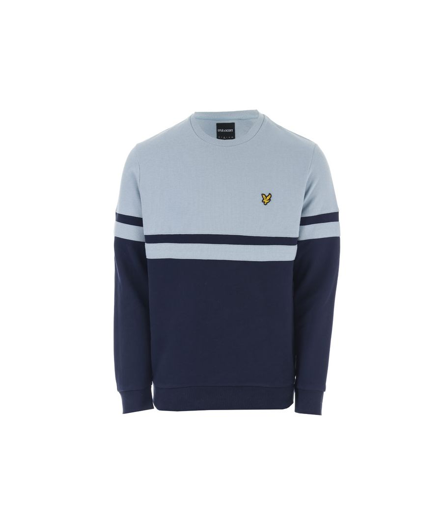 Image for Men's Lyle And Scott Panel Stripe Crew Neck Jumper in sky navy