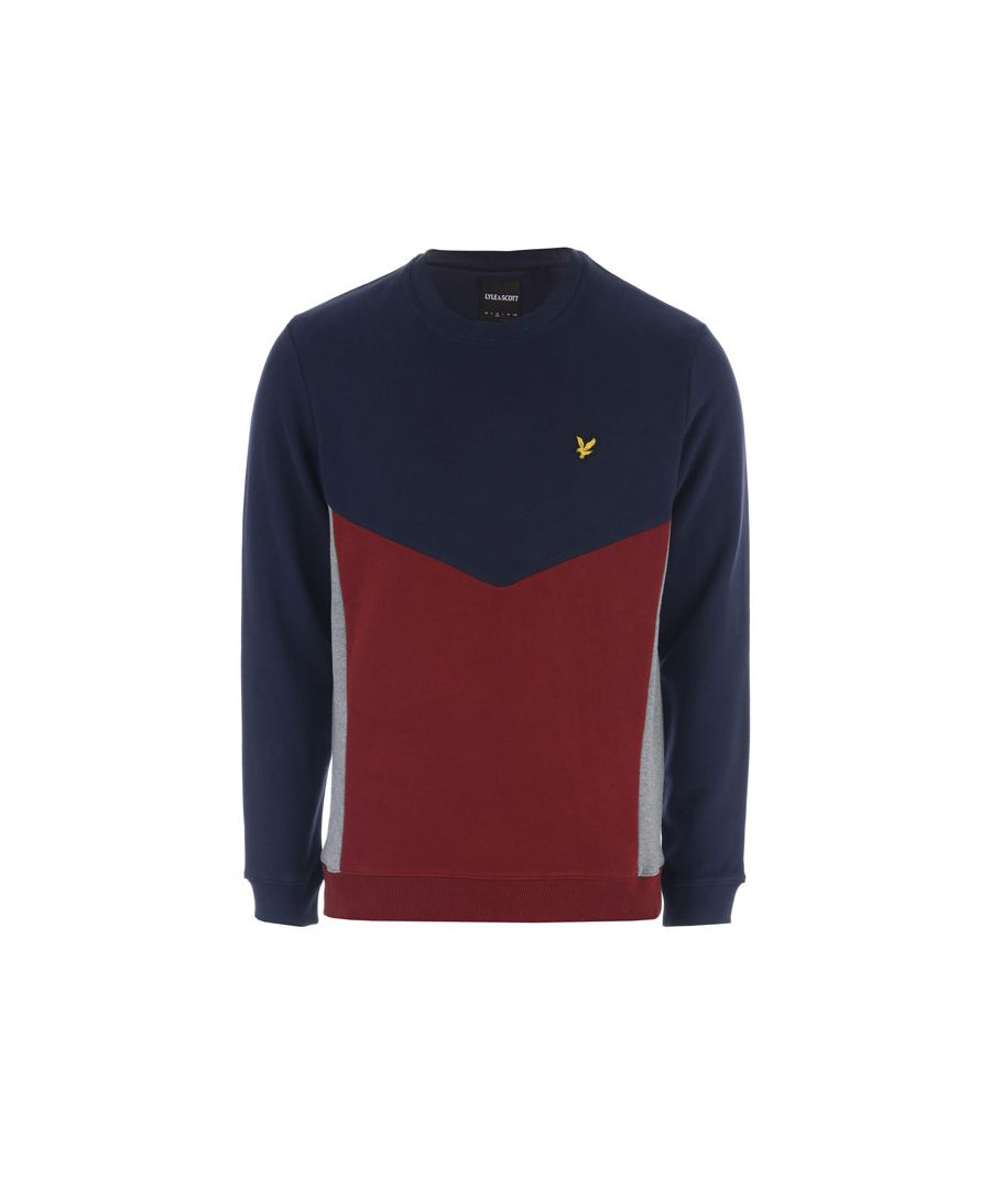 Image for Men's Lyle And Scott Multi Panel Sweatshirt in Navy Red