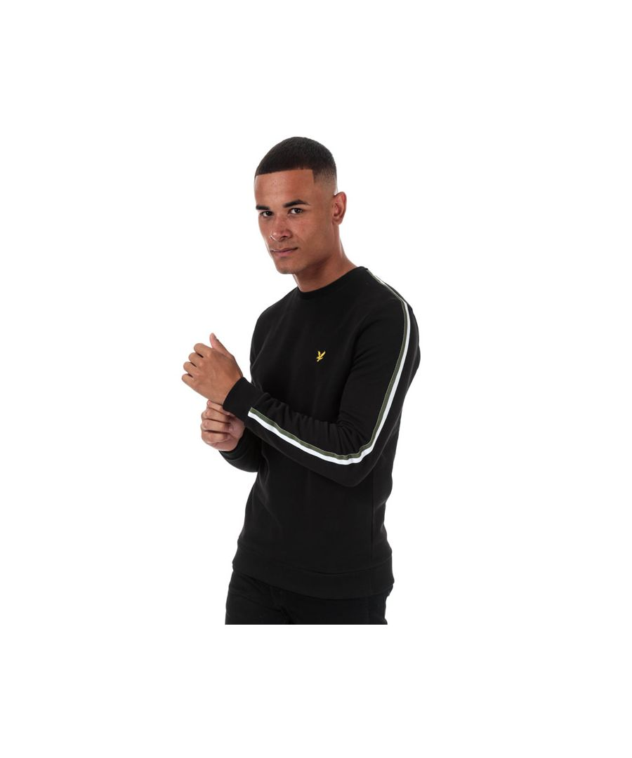 Image for Men's Lyle And Scott Taped Crew Neck Sweatshirt in black green
