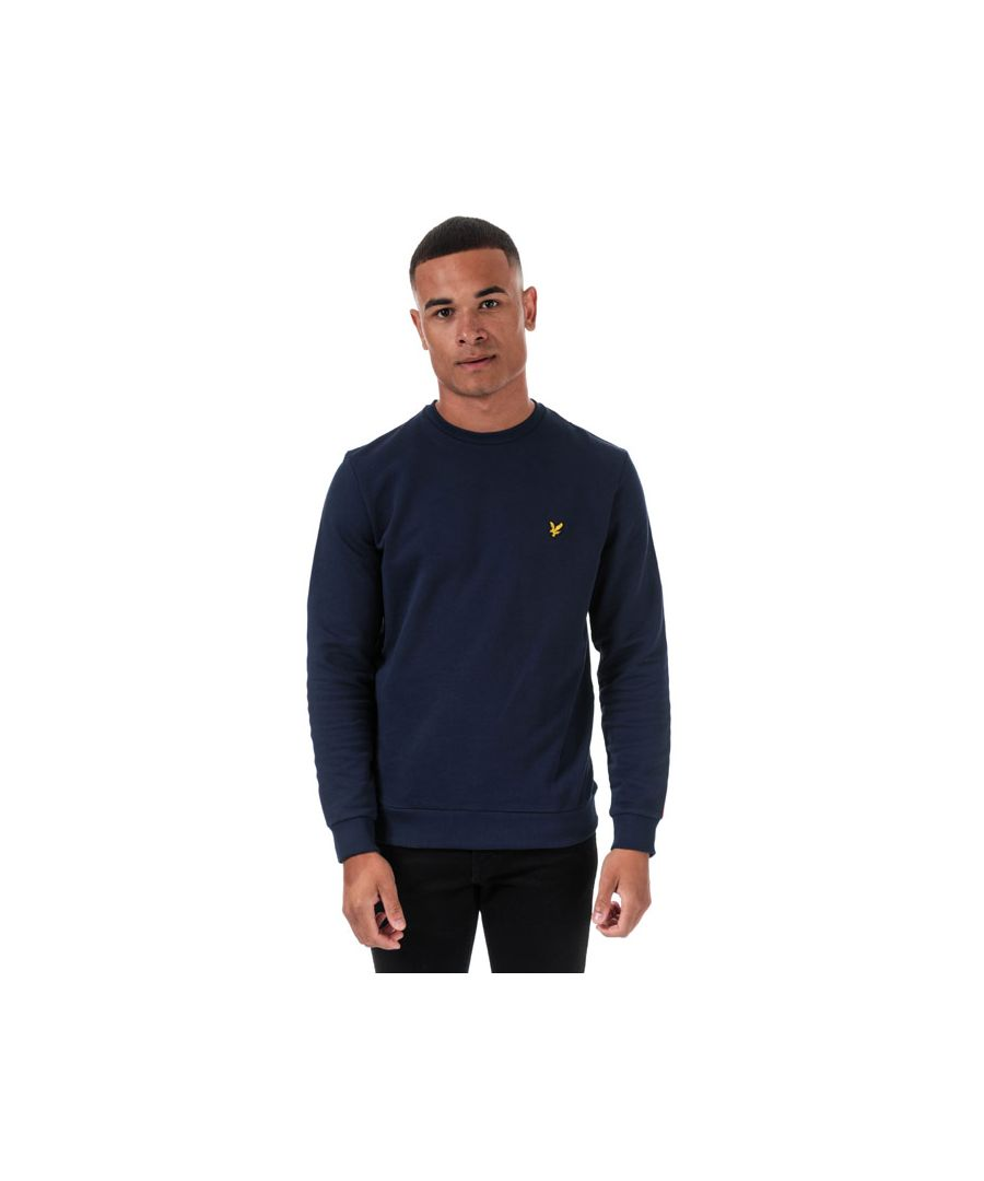 Image for Men's Lyle And Scott Taped Crew Neck Sweatshirt in Navy Red