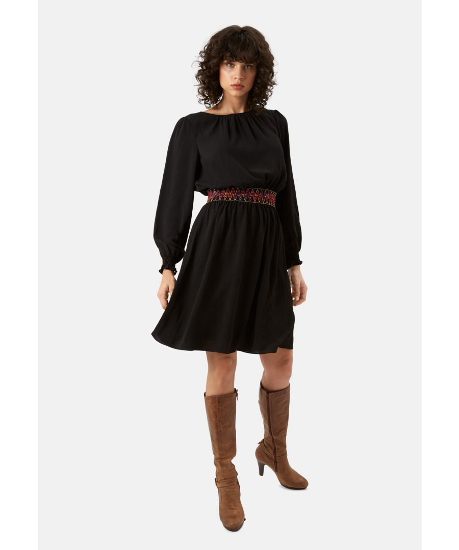 Image for Mini Trim Long Sleeve Dress in Black