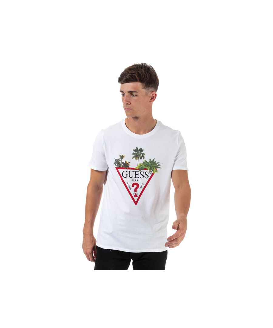 Image for Men's Guess Palm Tree T-Shirt in White