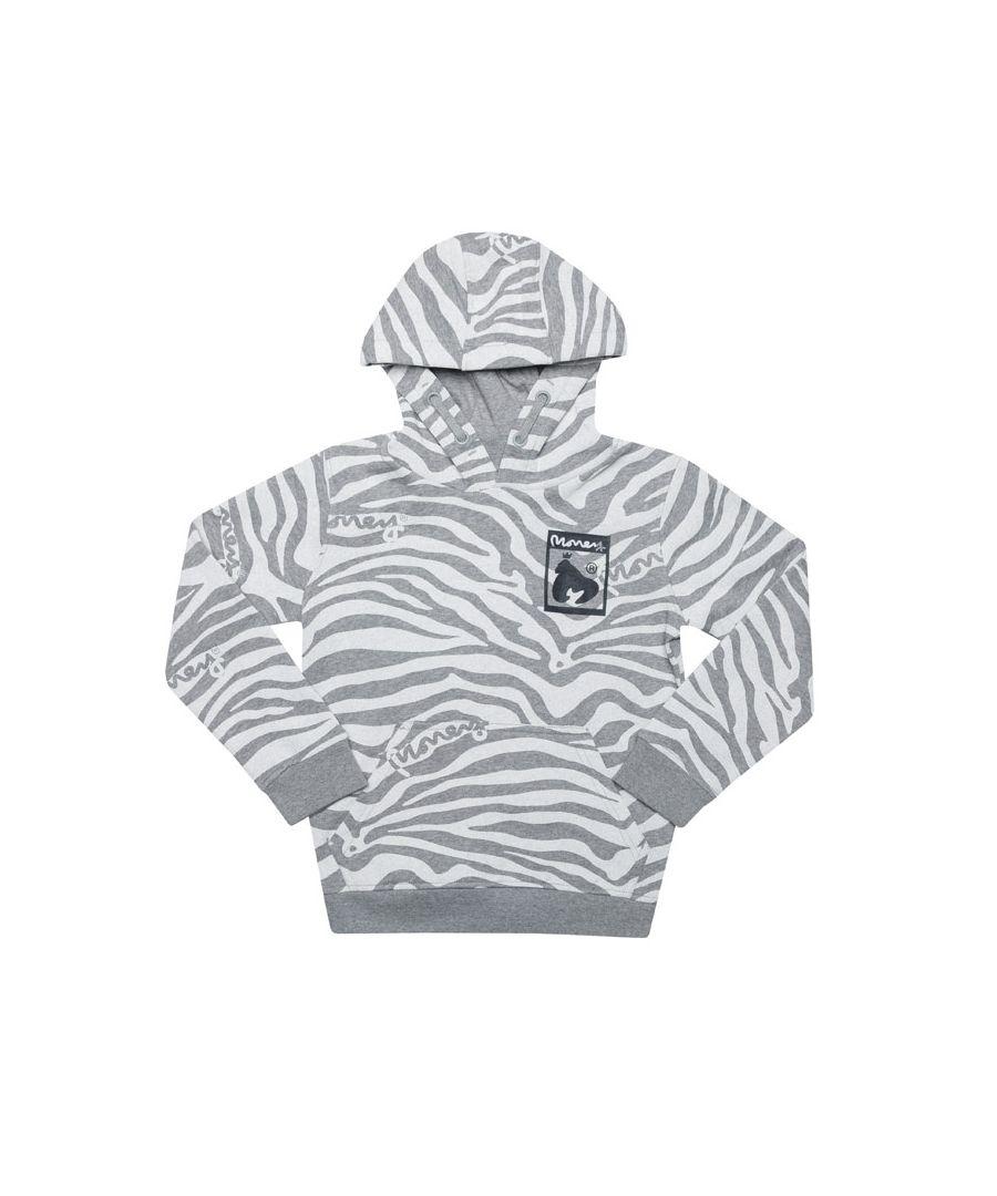 Image for Boys' Money Junior Zebra Print Hoodie in Grey Heather