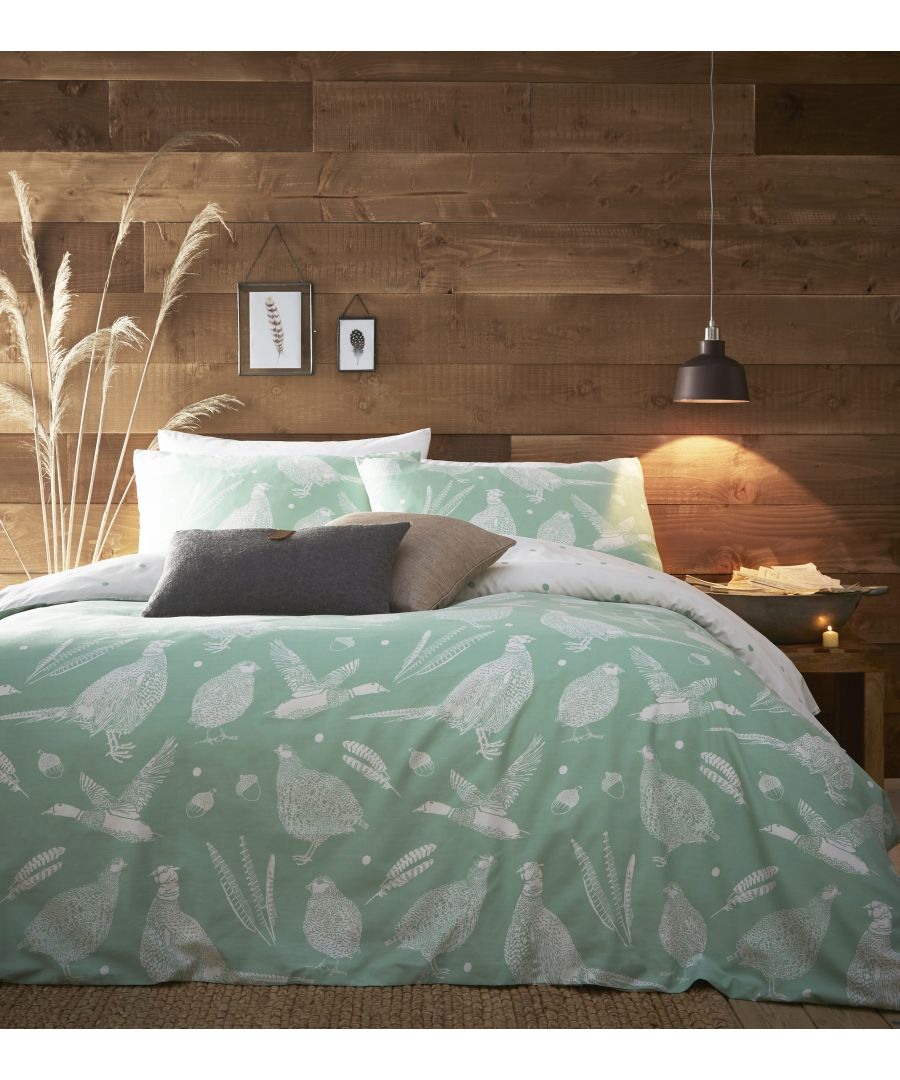 Image for Moorland Birds SKing Duvet Set Green