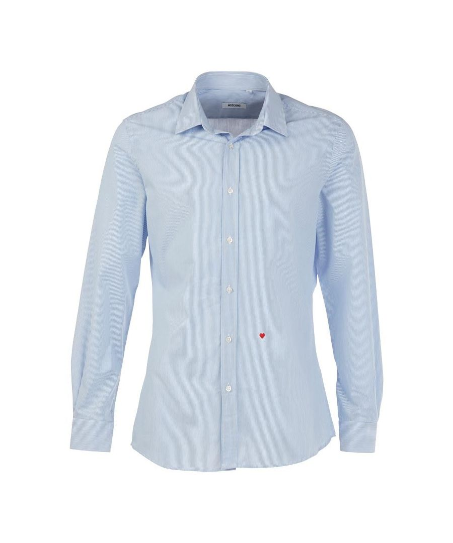 Image for Moschino R701X1 65302 02 Blue / White Pinstripe Casual Shirt
