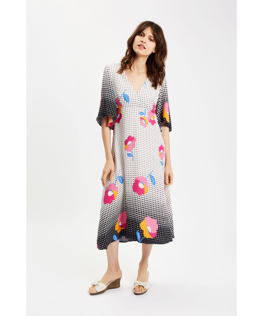 Image for Blithe V-neck Midi Printed Dress in Multi