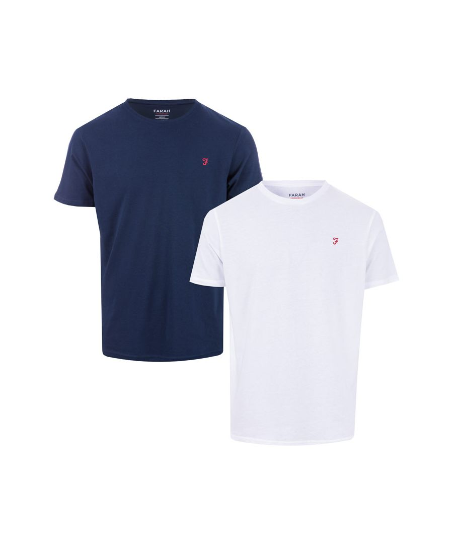 Image for Men's Farah Donoch 2 Pack T-Shirts in Navy-White