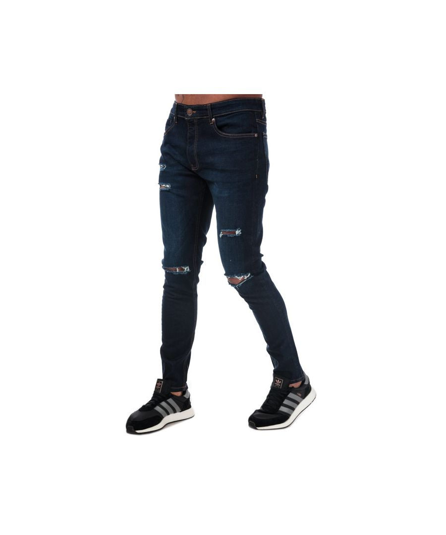 Image for Men's Ringspun Hercules Ripped Skinny Fit Jeans in Denim