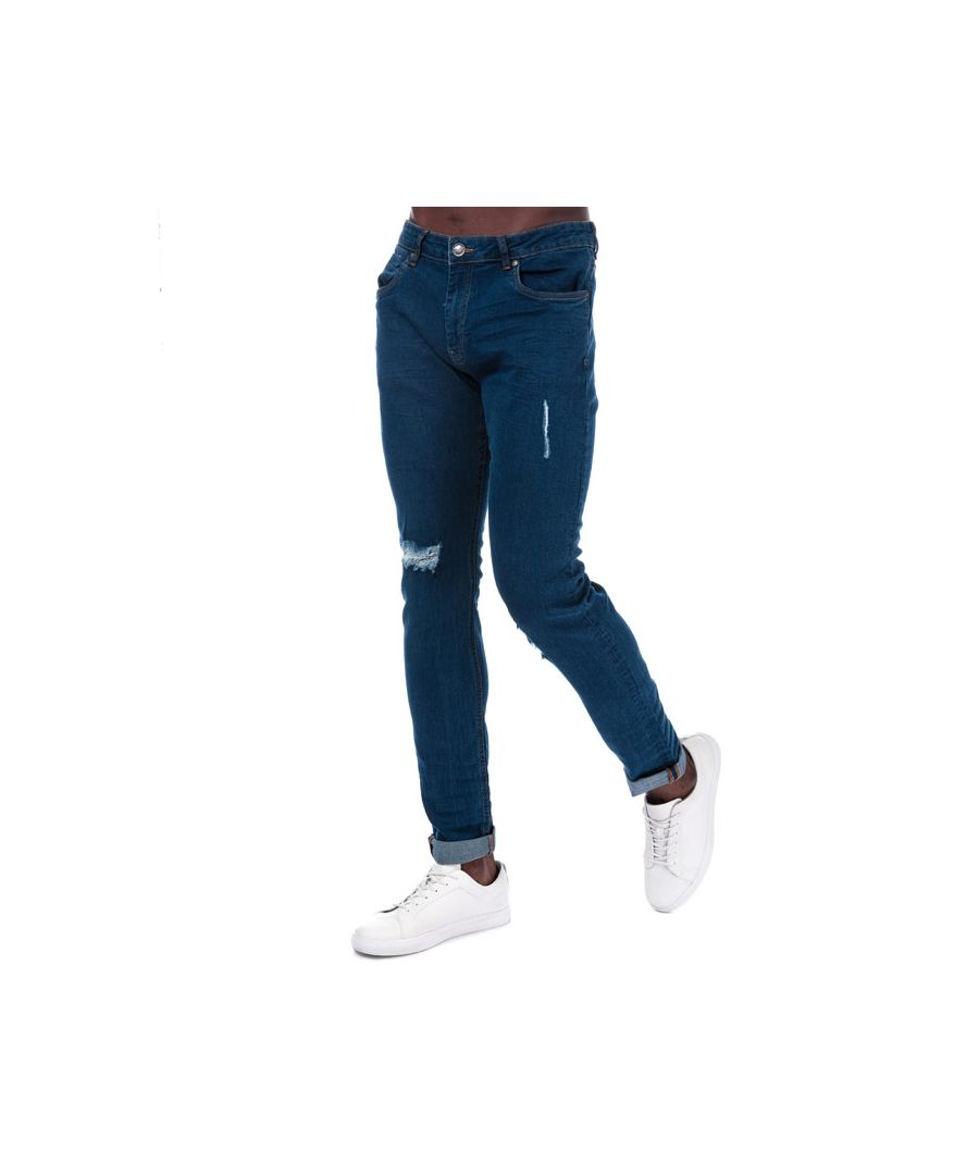 Image for Men's Ringspun Zeus Ripped Skinny Fit Jeans in Blue